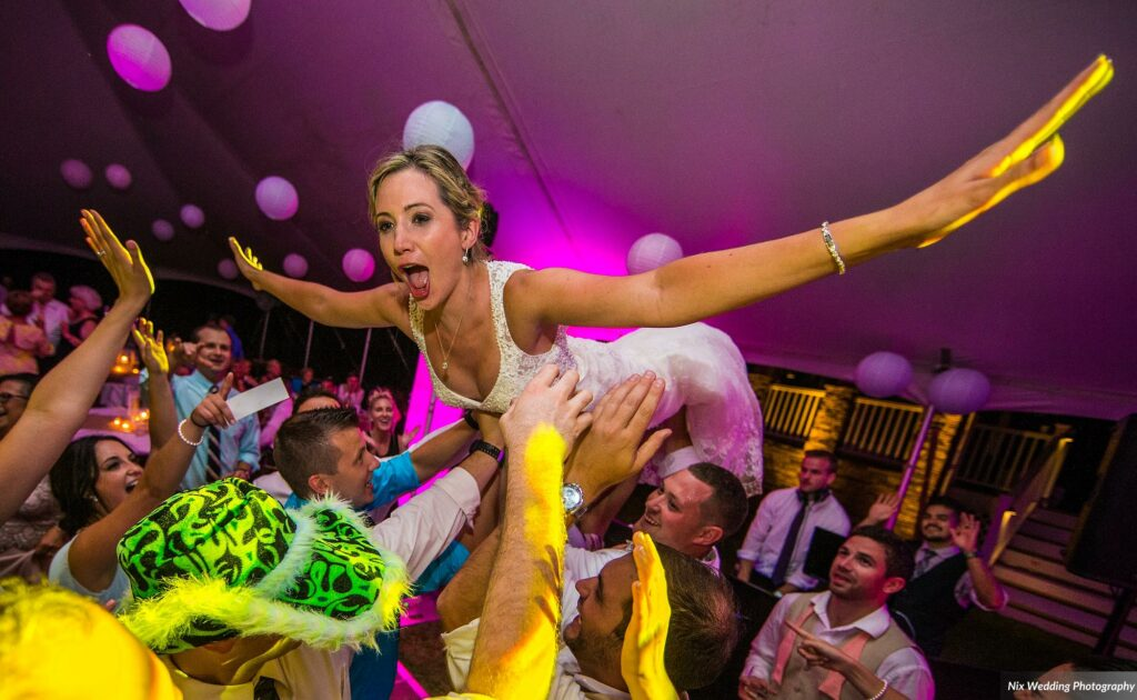 Tent Wedding Bride Crowd Surfing